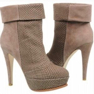 DOLCE VITA // calla snake embossed suede bootie